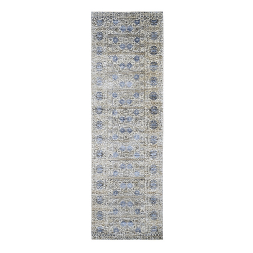 Silk With Textured Wool Mamluk Design Runner Hand knotted