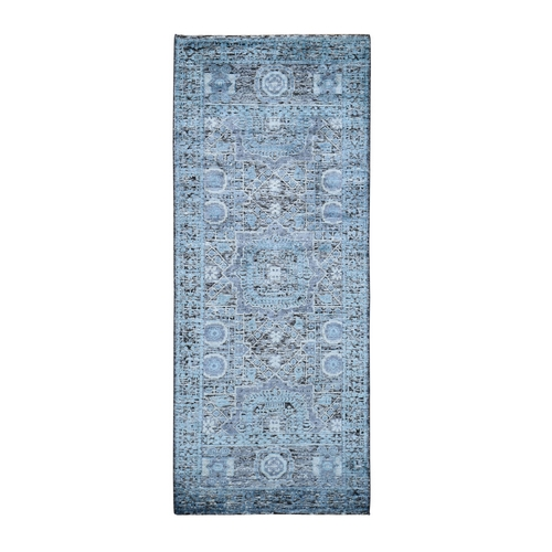 Silk With Textured Wool Hi-Low Pile Mamluk Design Runner Hand Knotted Oriental