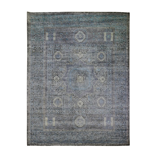 Silk With Textured Wool Hi-Low Pile Mamluk Design Hand Knotted Oriental Rug