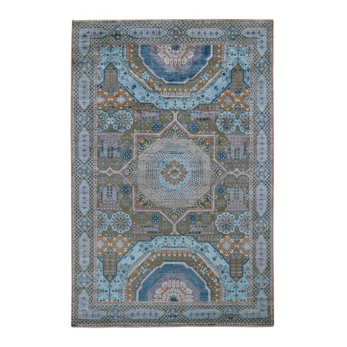 Blue Silk With Textured Wool Mamluk Design Hand knotted Oriental