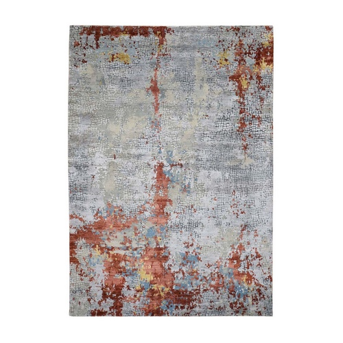 Wool And Silk Abstract With Fire Mosaic Design Hand-Knotted Oriental Rug