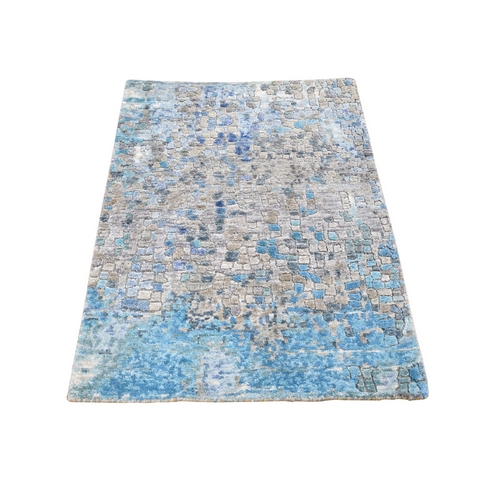 Abstract Mosaic Wool And Silk Hand Knotted Oriental Rug