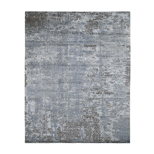 Blue Roman Mosaic Erased Design Wool and Silk Hand Knotted Oriental Rug