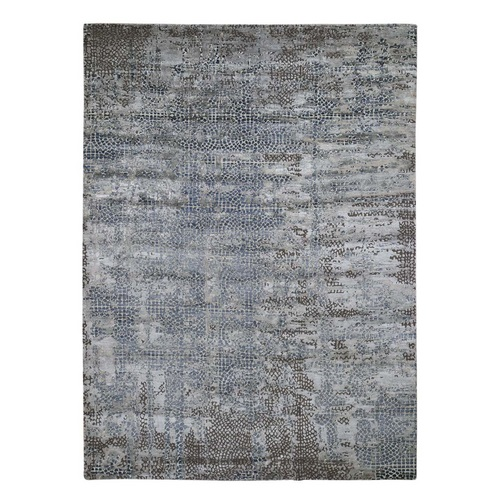 Erased Mosaic Design Wool And Silk Hand-Knotted Oriental Rug