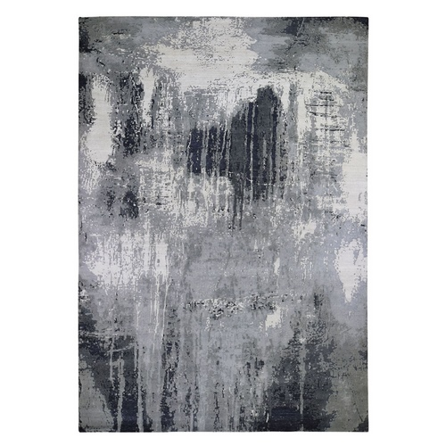 Gray-Black Abstract Design Wool and Silk Hand Knotted Oriental Rug