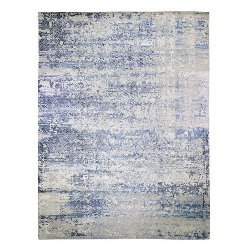 Oversized Abstract With Mosaic Design Wool And Silk Hand Knotted Oriental Rug
