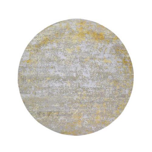 Round Gold Hi-Lo Pile Abstract Design Wool And Silk Hand Knotted Oriental