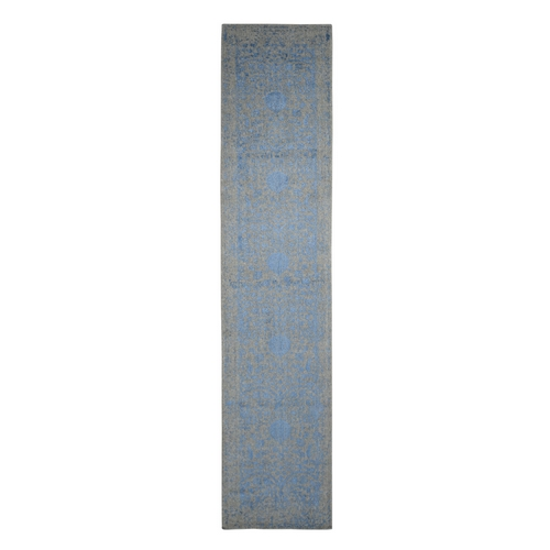 Blue Jacquard Hand Loomed Wool and Art Silk Pomegranate Design Runner Oriental