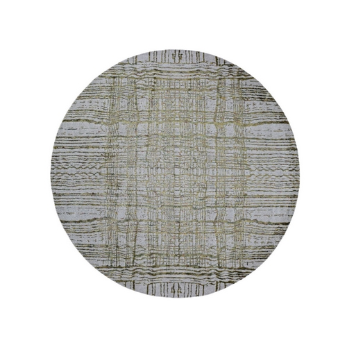 Round Fine jacquard Hand Loomed Modern Wool And Art Silk Oriental Rug