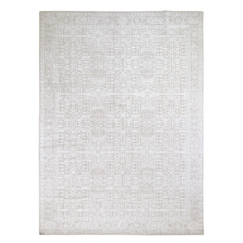 Gray Fine jacquard Hand Loomed Modern Wool And Art Silk Oriental Rug