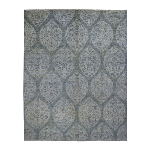 Gray Peshawar With Mughal Design Pure Wool Hand Knotted Oriental Rug