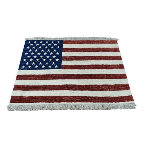 Hand Knotted Pure Wool Peshawar American Flag Wall Hanging