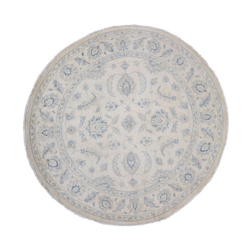 Ivory Zeigler Mahal Round Hand Knotted Pure Wool Oriental