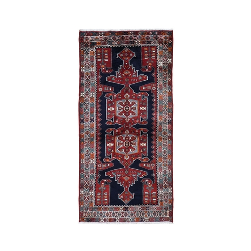Gallery Size Navy Blue New Persian Hamadan Pure Wool Hand Knotted Oriental Rug