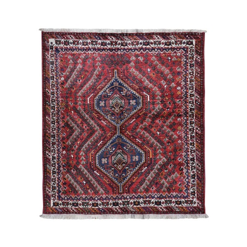 Red Squarish New Persian Shiraz Pure Wool Hand Knotted Oriental
