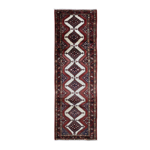 Ivory New Persian Hamadan Pure Wool Hand Knotted Runner Oriental