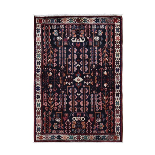 Black New Persian Hamadan Pure Wool Hand Knotted Runner Oriental