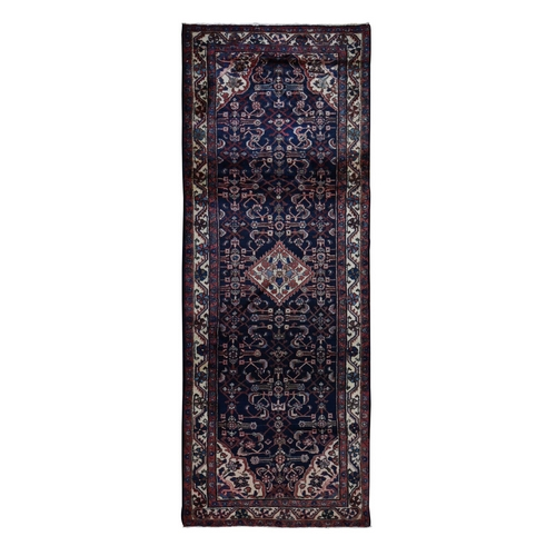 Navy Blue New Persian Hamadan Pure Wool Hand Knotted Wide Runner Oriental Rug