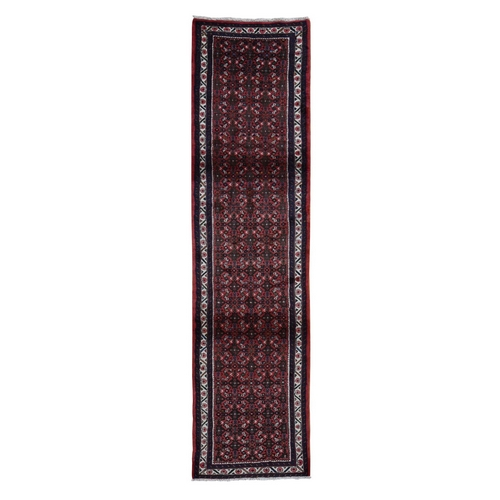 Red New Persian Hamadan Fish Design Pure Wool Hand Knotted Narrow Runner Oriental Rug