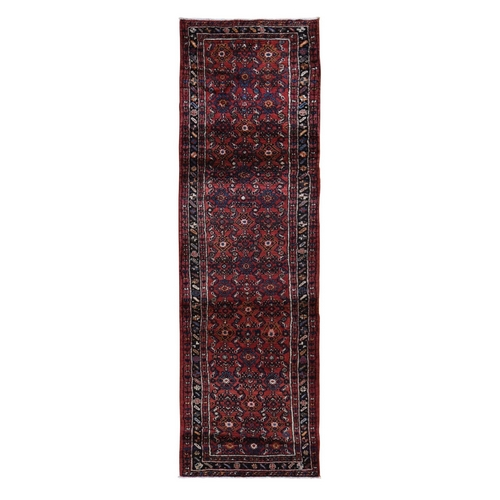 Red New Persian Hamadan Fish Design Wool Hand Knotted Narrow Runner Oriental Rug