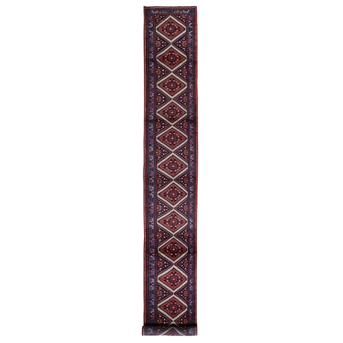 Red New Persian Hamadan Pure Wool Hand Knotted XL Runner Oriental Rug