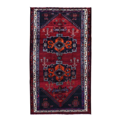 Gallery Size Red Vintage Persian Hamadan Pure wool Large Elements Hand Knotted Oriental Rug