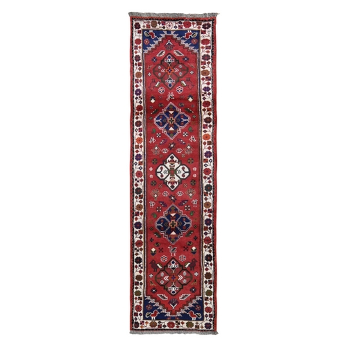 Red New Persian Shiraz Pure Wool Runner Hand Knotted Oriental Rug