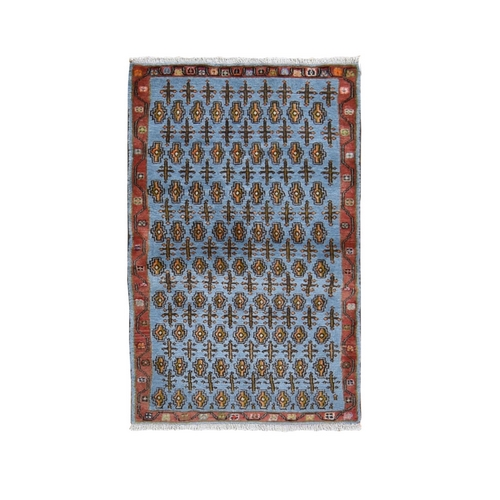 Light Blue New Persian Malayer Pure Wool Hand Knotted Oriental Rug