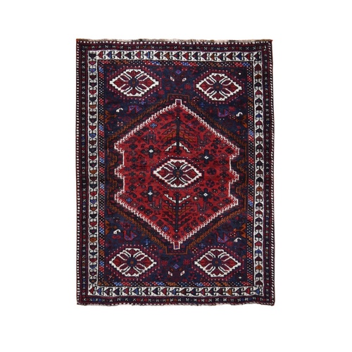 Red New Persian Shiraz With Medallion Pure Wool Runner Hand Knotted Oriental