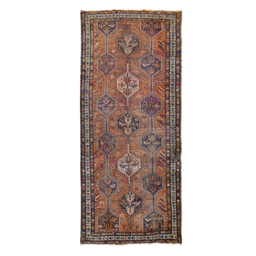 Orange Gallery Size Old Persian Shiraz Worn And Repaired Hand Knotted Oriental Rug