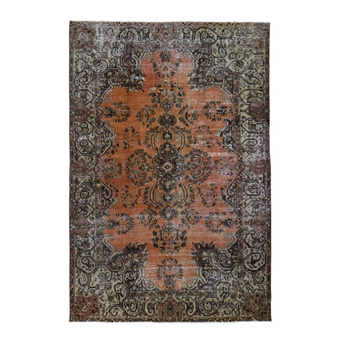 Burnt Orange Vintage Persian Lilahan Worn Hand Knotted Oriental Rug