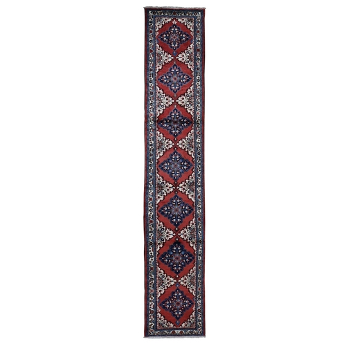 Red New Persian Hamadan Pure Wool Hand Knotted Runner Oriental