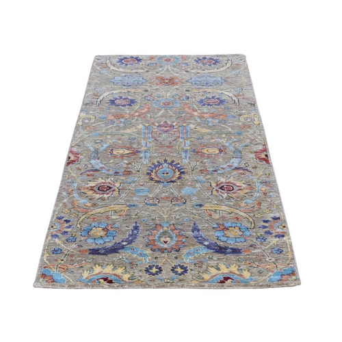 Sickle Leaf Design Silk With Textured Wool Runner Hand Knotted Oriental Rug