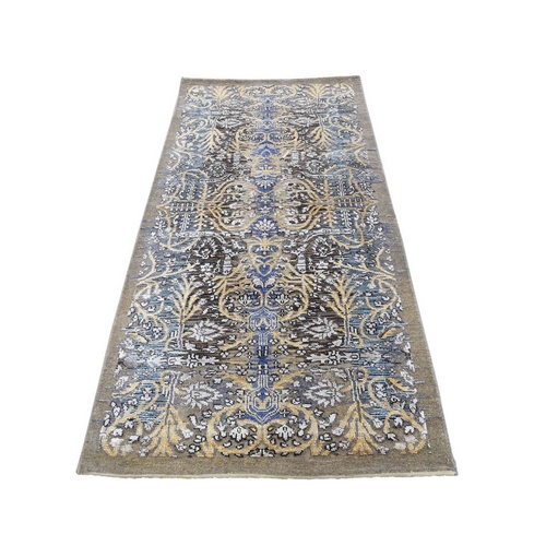 Hand Knotted Silk with Textured Wool Transitional Sarouk Runner Oriental Rug