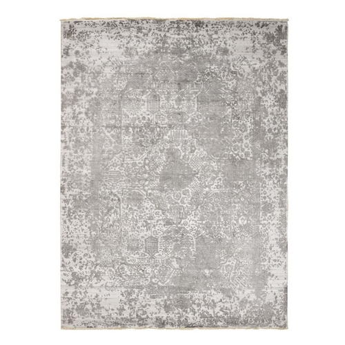 Gray Broken Persian Design Wool And Pure Silk Hand Knotted Oriental Rug