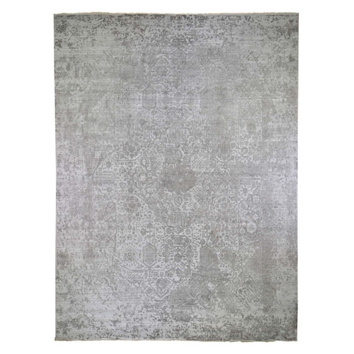 Oversized Broken Persian Design Wool And Pure Silk Hand Knotted Oriental Rug