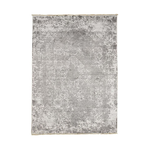 Grey Broken Persian Design Wool And Pure Silk Hand Knotted Oriental Rug