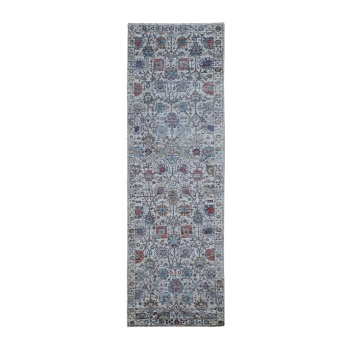 Ivory Silk With Textured Wool Tabriz Hand Knotted Runner Oriental Rug