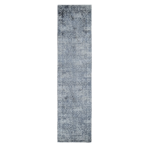 Fine jacquard Hand Loomed Erased Design Wool And Silk Runner Oriental