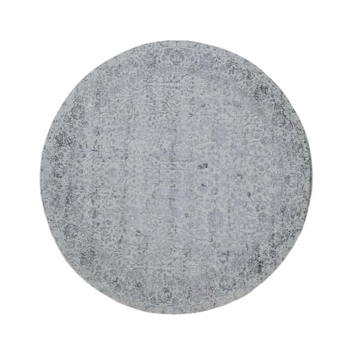 Jacquard Hand Loomed Gray Broken Cypress Tree Design Wool And Art Silk Thick And Plush Round Oriental Rug