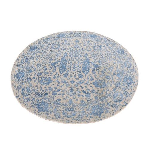 Blue Broken Cypress Tree Silken Thick Round Hand-Loomed Oriental Rug