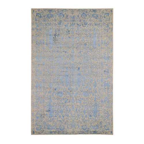 jacquard Hand Loomed Blue Broken Cypress Tree Design Wool And Art Silk Thick And Plush Oriental Rug