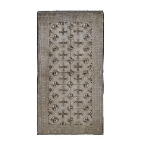 Washed Out Turkoman Repetitive Design Wide Runner Tribal