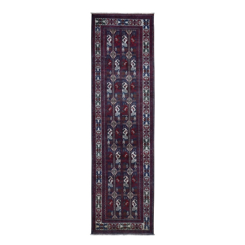 Red Afghan Khamyab Runner  Pure Wool Hand Knotted Oriental
