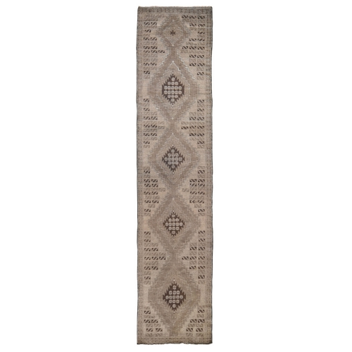 Washed Out Afghan Baluch Pure Wool Runner Hand Knotted Oriental