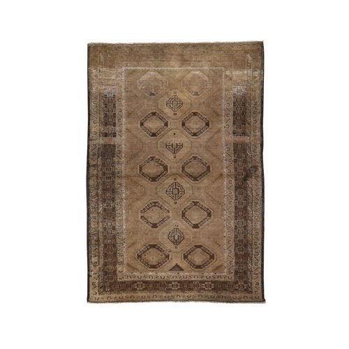 Washed Out With Natural Colors Abrush Tribal Hand Knotted Oriental Rug