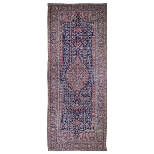Gallery Size Antique Persian Malayer Evern Wear Medallion Design Pure Wool Hand Knotted