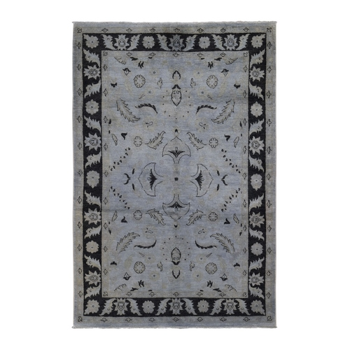 On Clearance Gray And Black Pure Wool Peshawar Hand Knotted Oriental