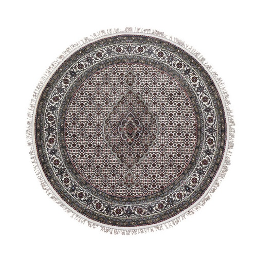 Ivory Round Wool And Silk Tabriz Mahi Design Hand Knotted Oriental Rug