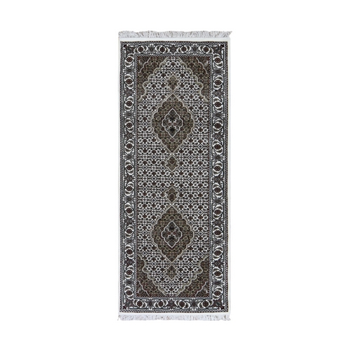 Ivory Runner Wool And Silk Tabriz Mahi Design Hand Knotted Oriental Rug